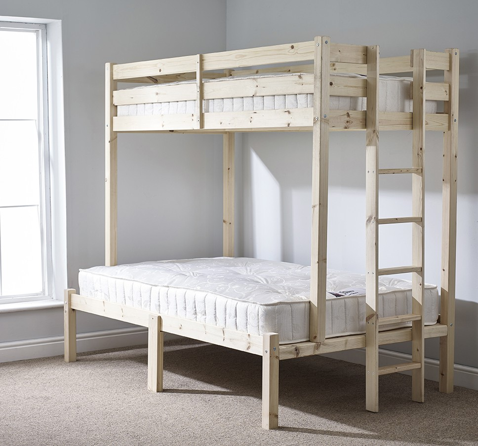 Strictly Beds Duke 4ft 6 Double HEAVY DUTY Solid Pine Triple Sleeper Bunk Bed