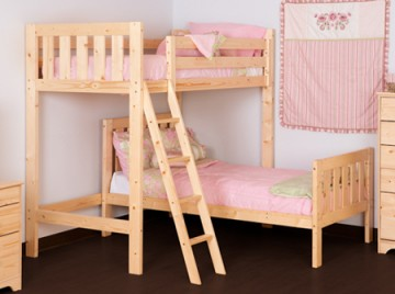 Goodwood 2ft 6 Small Single Short Length Solid Pine L Shaped Bunk Bed