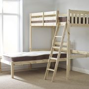 Goodwood 2ft 6 Small Single HEAVY DUTY Solid Pine L Shaped  Bunk Bed