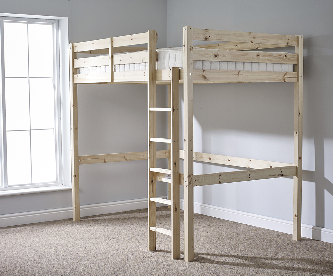 Icarus 4ft Small Double HEAVY DUTY Solid Pine HIGH SLEEPER Bunk Bed