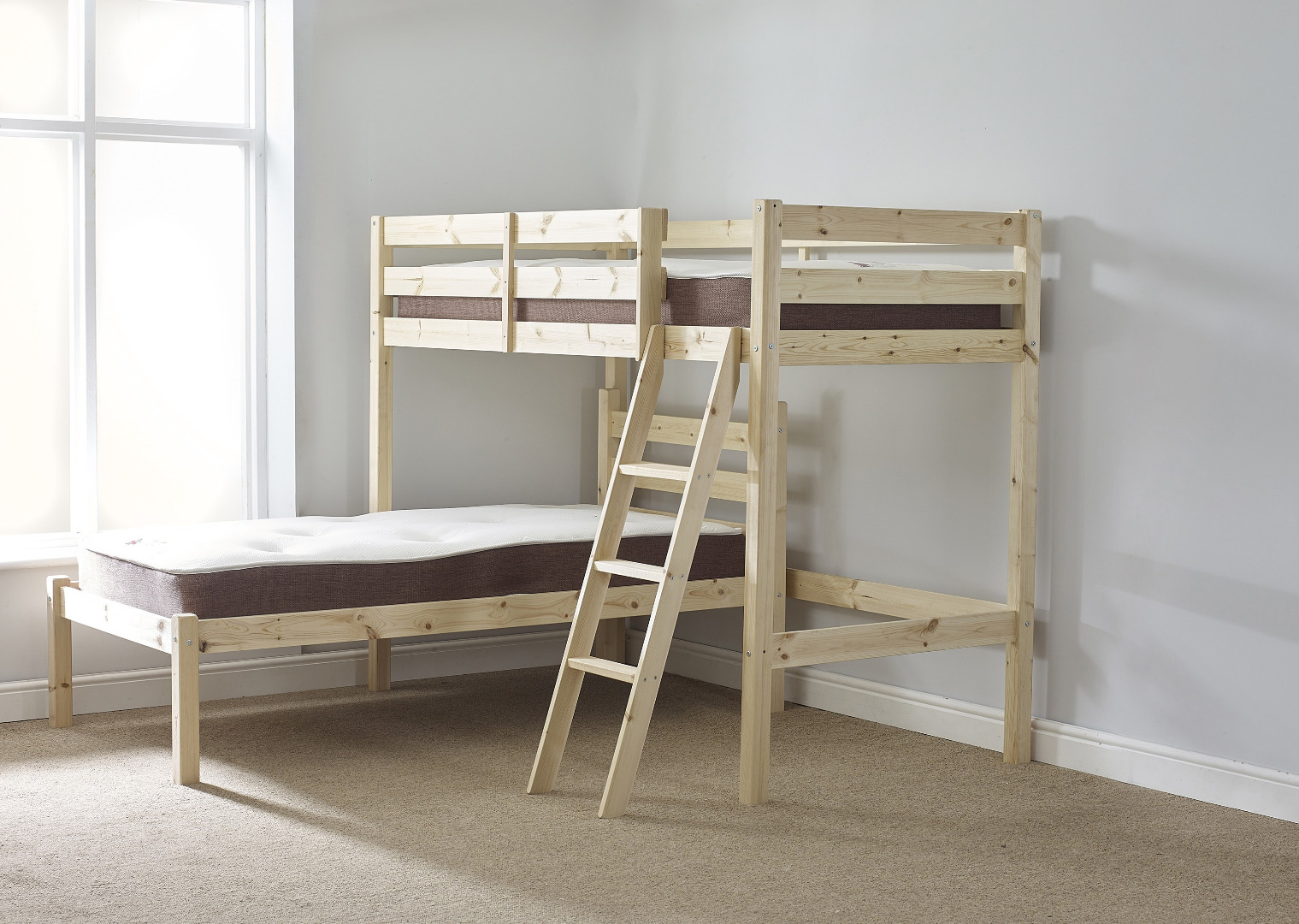 Picture of: Mandoline 3ft Single Heavy Duty Solid Pine L Shaped Bunk Bed
