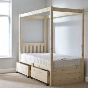 Quattro 3ft Single storage FOUR POSTER Solid Pine Bed Frame
