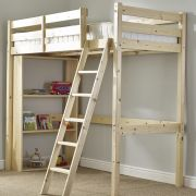 Oscar 3ft Single HEAVY DUTY Pine LOW Loft Bunk Bed (NO BOOKCASE)