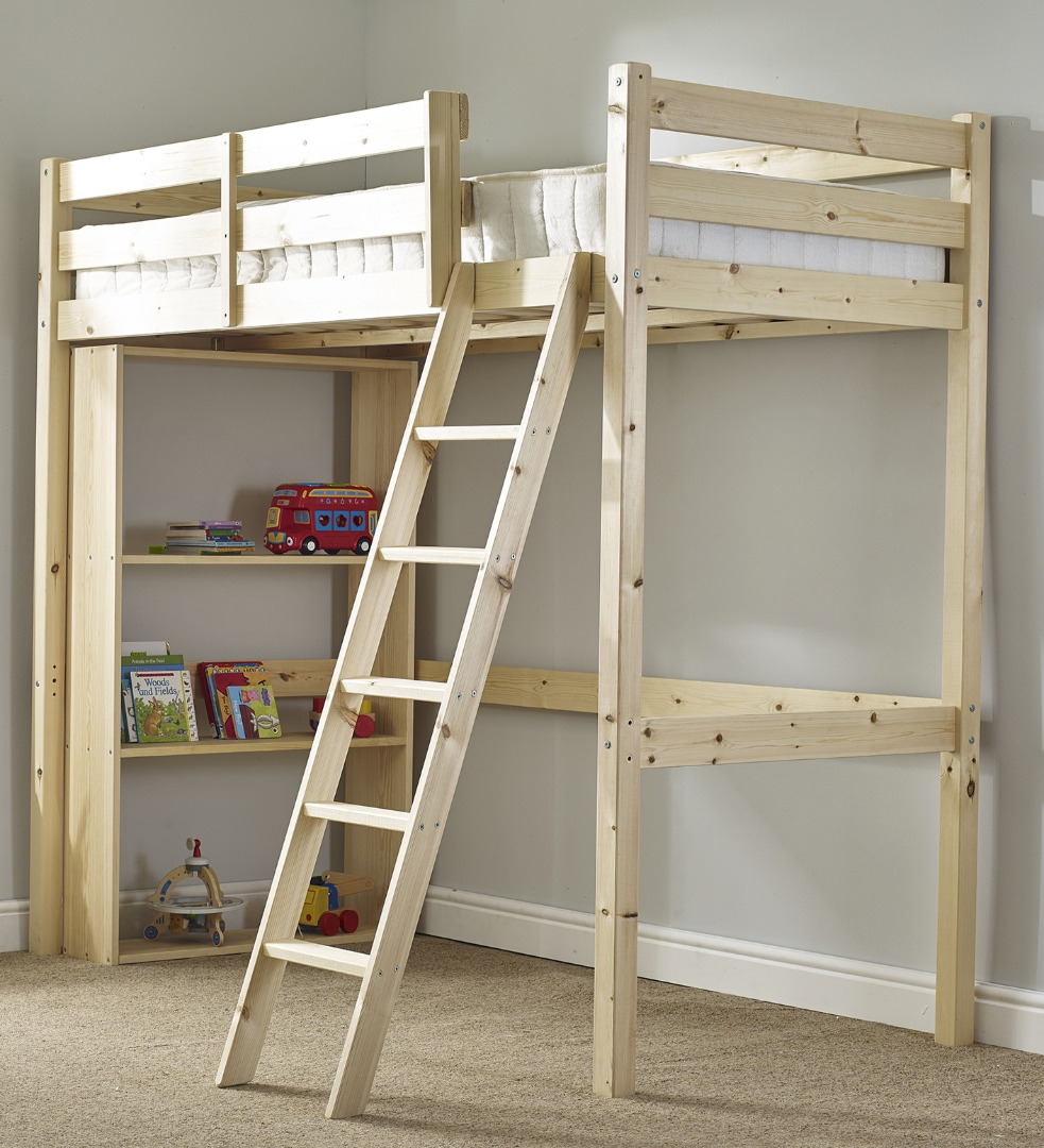 Oscar 2ft 6 Small Single HEAVY DUTY Solid Pine LOW Loft Bunk Bed (NO BOOKCASE)