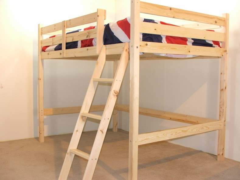 oscar 4ft small double heavy duty solid pine loft bunk bed. Black Bedroom Furniture Sets. Home Design Ideas