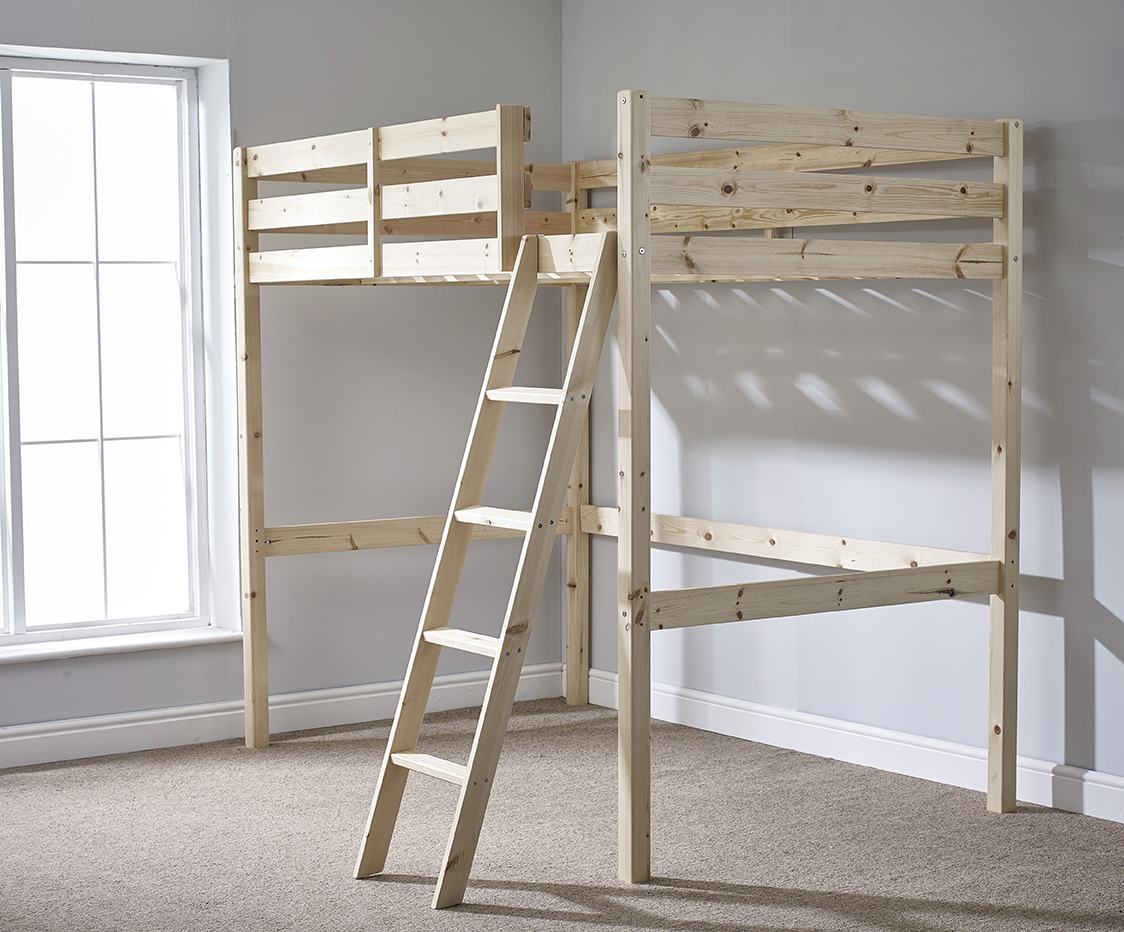 Celeste 4ft 6 Double HEAVY DUTY Solid Pine HIGH SLEEPER Bunk Bed