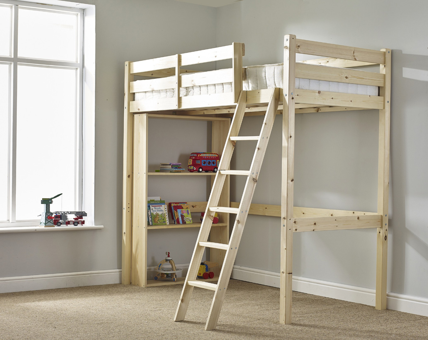 Celeste 3ft Single HEAVY DUTY HIGH SLEEPER Bunk Bed ( WITH BOOKCASE)