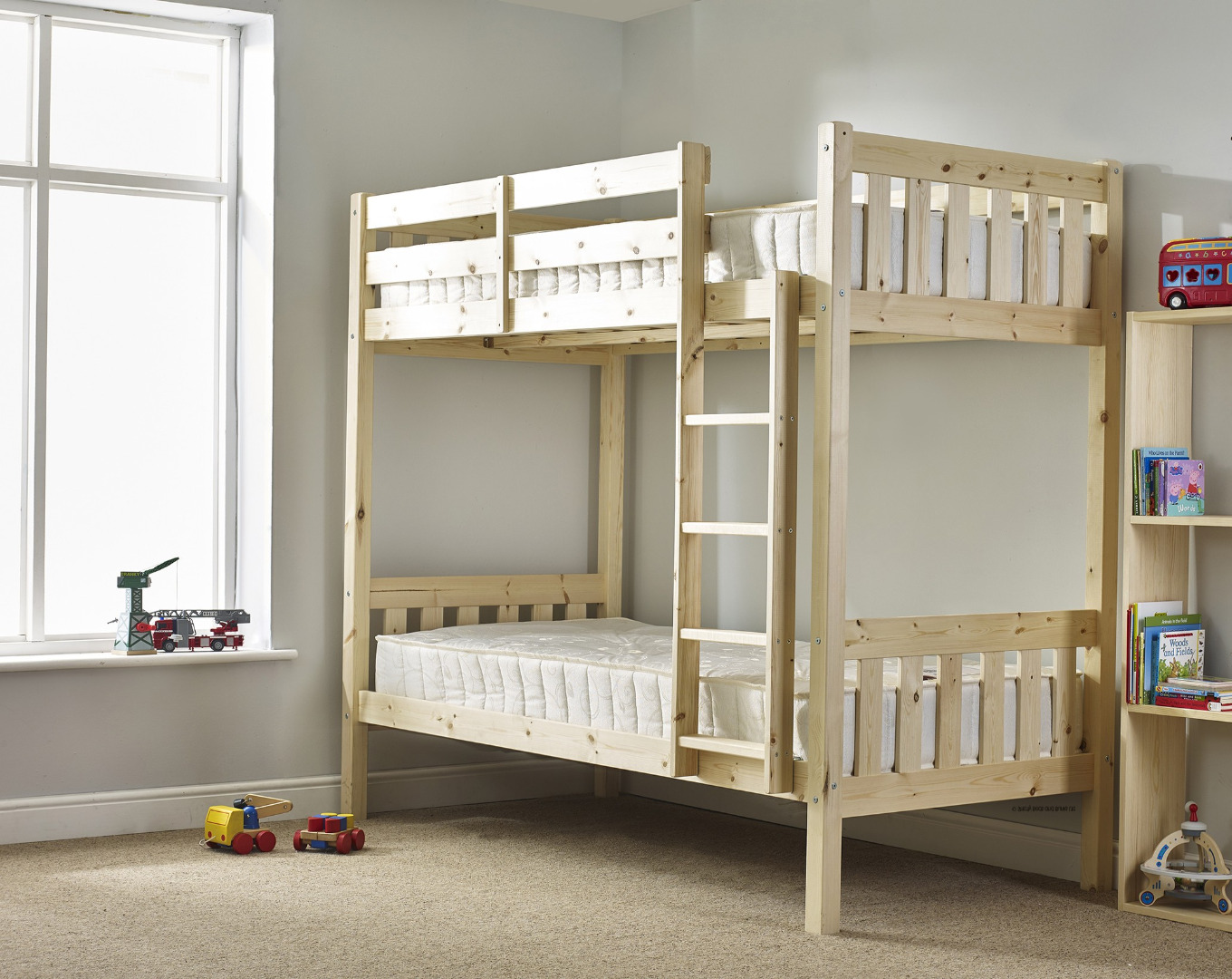 Cypress 2ft 6 Small Single Solid Pine HEAVY DUTY Bunk Bed