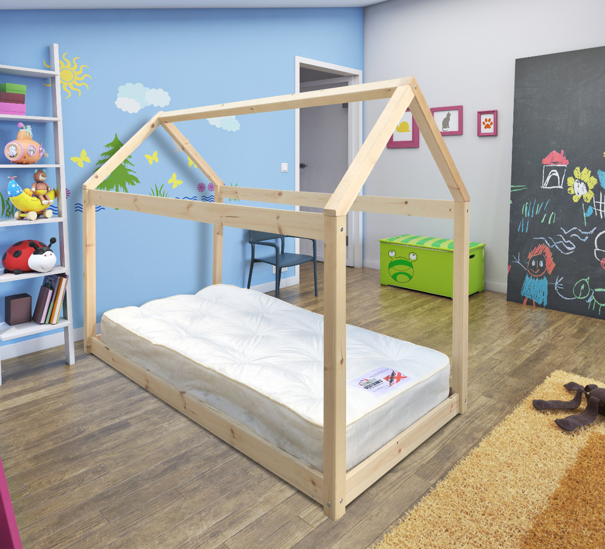 Enby 3ft Single Short Length Canopy Treehouse Pine Bed Frame
