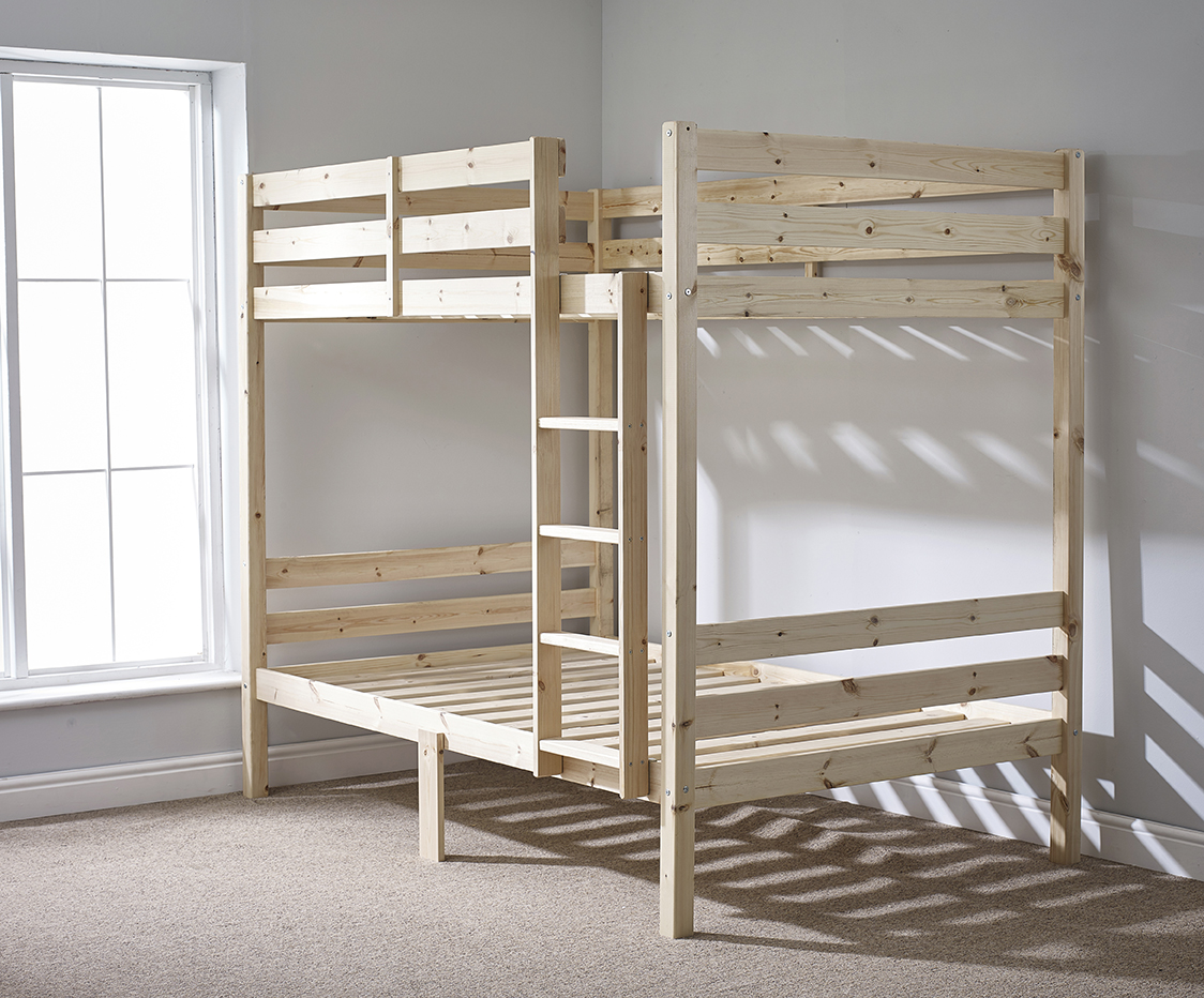 everest 4ft small double heavy duty solid pine high bunk bed