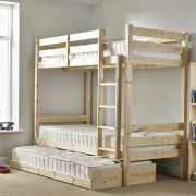 Everest 3ft Single HEAVY DUTY Solid Pine HIGH Bunk Bed with guest bed