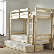 Everest 2ft 6 Small Single HEAVY DUTY Solid Pine HIGH Bunk Bed with guest bed