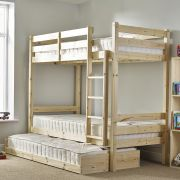Everest 3ft Single SHORT LENGTH Solid Pine HIGH Bunk Bed with guest bed