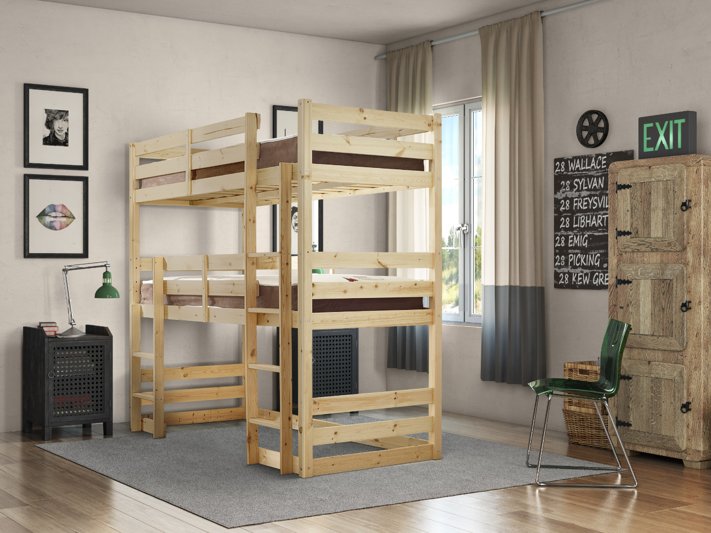 Fusion 2ft 6 Small Single Heavy Duty Raised Solid Pine Bunk Bed