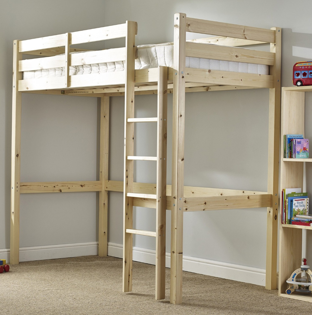 Icarus 2ft 6 small single short length solid pine high for Single bunk bed