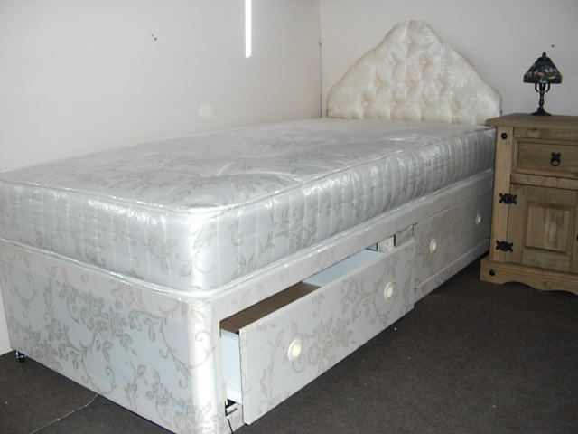 Small Single 2ft 6 Divan Bed With 8 Inch Thick Sprung