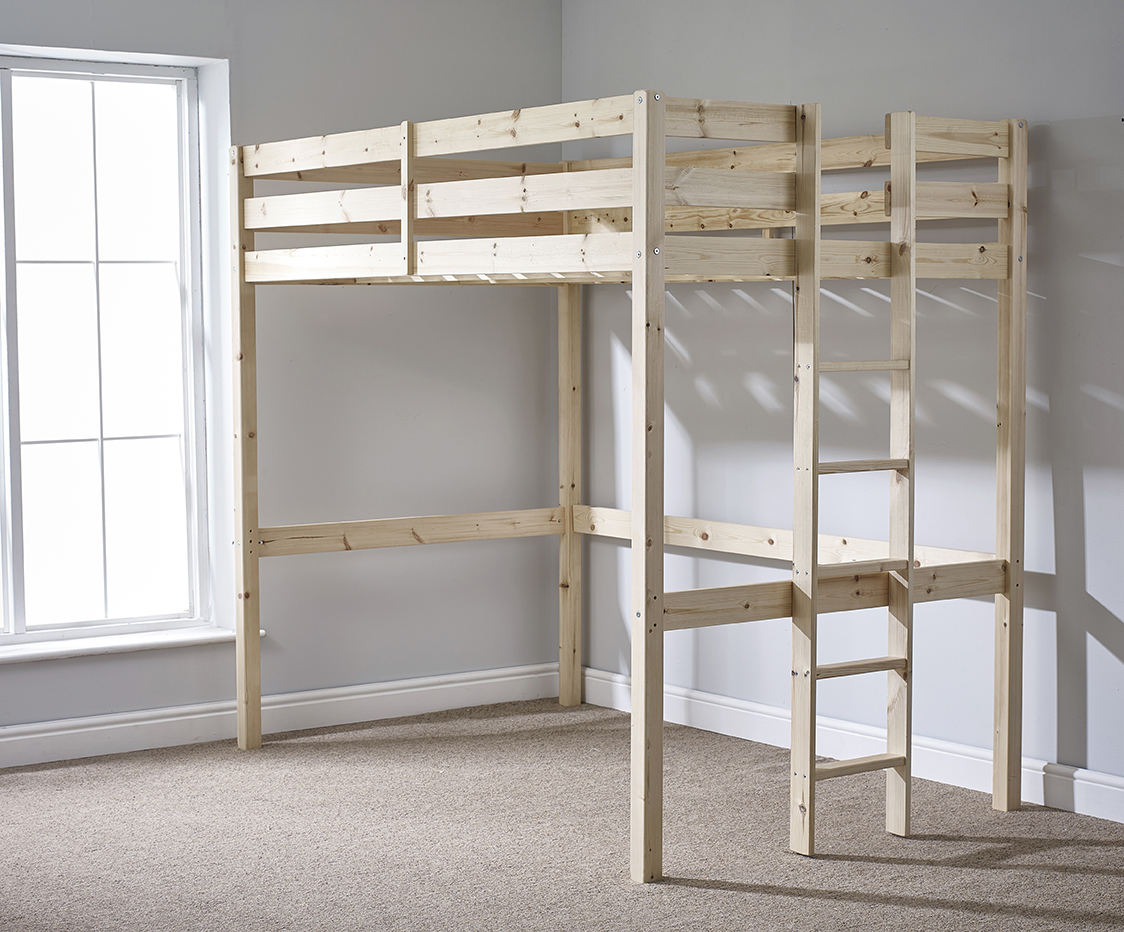 Memphis 4ft 6 Double HEAVY DUTY Solid Pine HIGH SLEEPER Bunk Bed