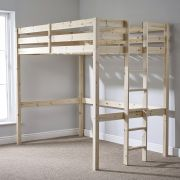 Memphis 4ft Small Double HEAVY DUTY Solid Pine HIGH SLEEPER Bunk Bed