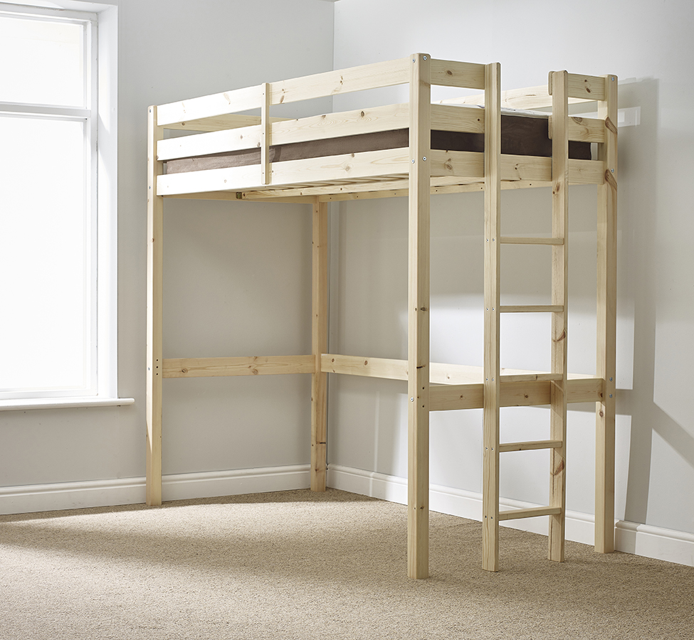 Memphis 3ft Single SHORT LENGTH Solid Pine HIGH SLEEPER Bunk Bed