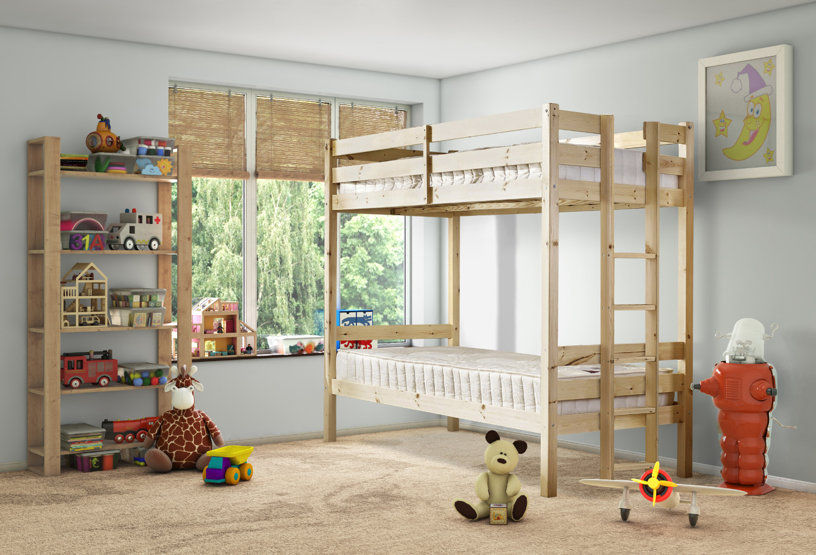Moon 3ft Single Solid Pine Bunk Bed with End Ladder