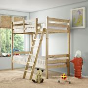 Nepal 2ft 6 Small Single SHORT LENGTH Solid Pine Bunk Bed with Slanted Ladder