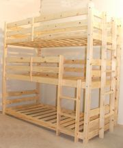 Pandora 3 Tier, three sleeper 2ft 6 Small single solid pine bunk bed