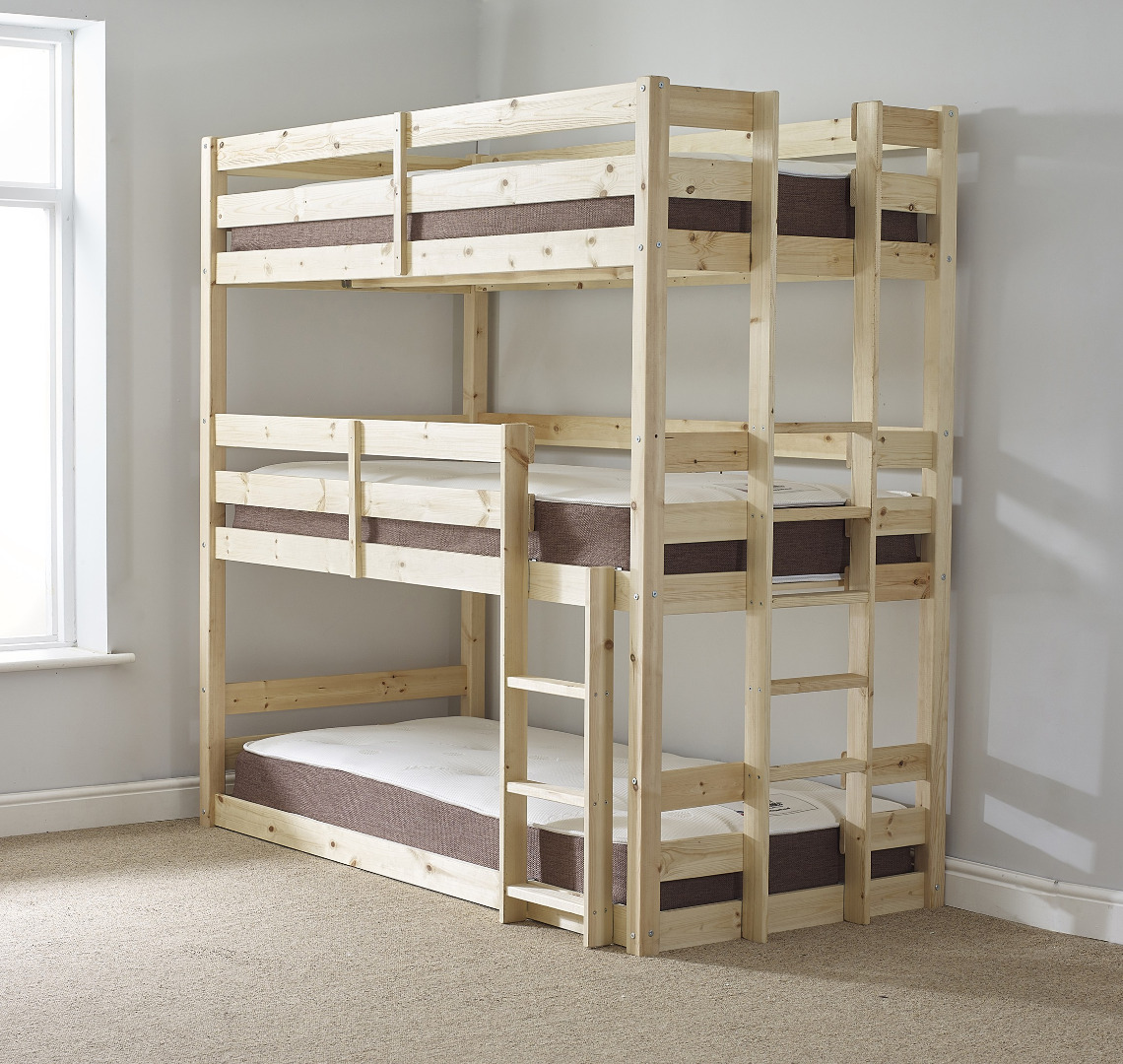 Pandora 2ft 6 Small Single 3 Tier HEAVY DUTY Solid Pine HIGH Triple Sleeper Bunk Bed