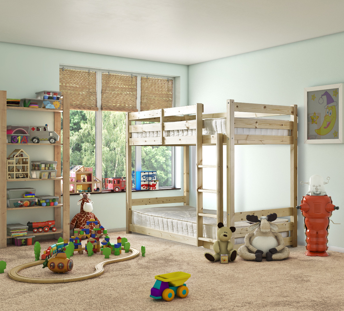 Pluto 3ft Single HEAVY DUTY Solid Pine Bunk Bed