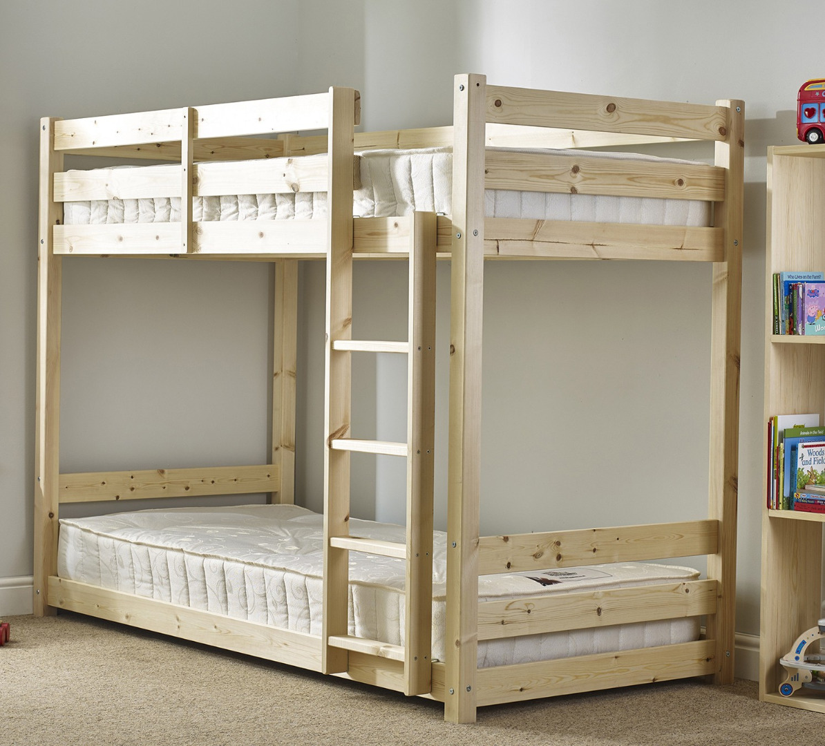 Pluto 3ft single heavy duty solid pine bunk bed for Single bunk bed