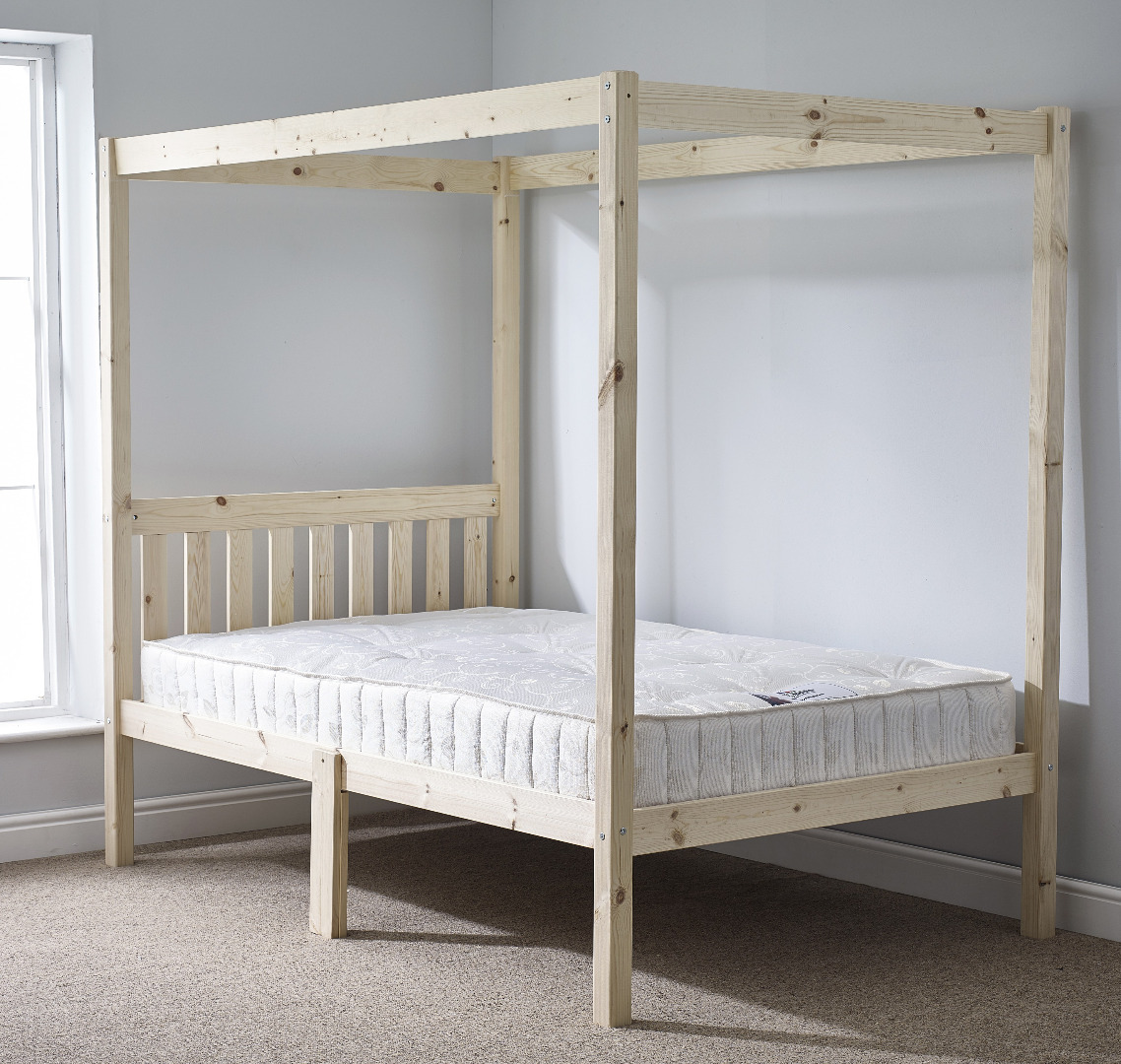 Quattro 4ft Small Double FOUR POSTER Solid Pine Bed Frame