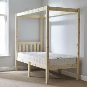 Quattro 2ft 6 Small Single FOUR POSTER Solid Pine Bed Frame