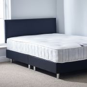 Wade 4ft 6 Double Black Leather Frame with Memory Foam Mattress